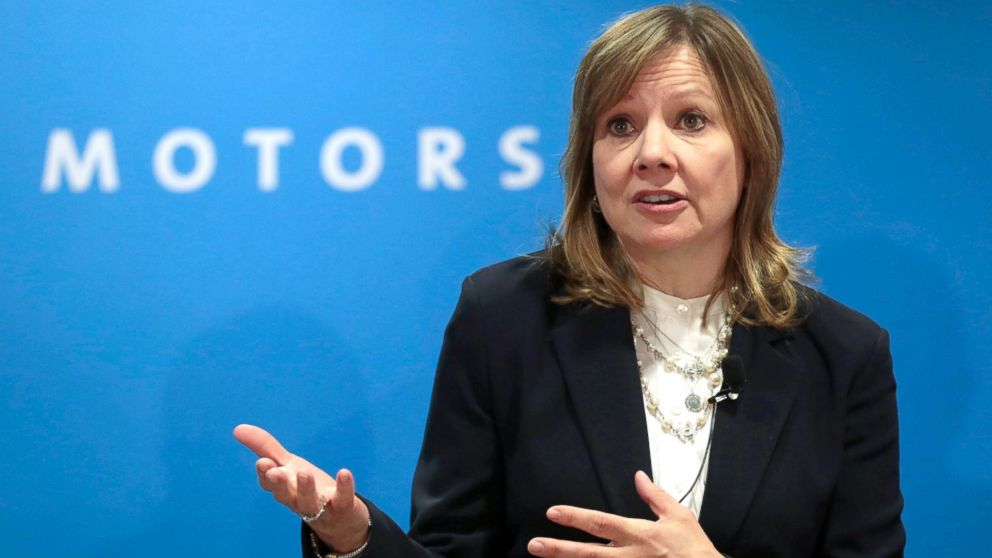General Motors Chairman and CEO Mary Barra speaks at GM's press conference at the North American International Auto Show in Detroit, Jan. 16, 2018.
