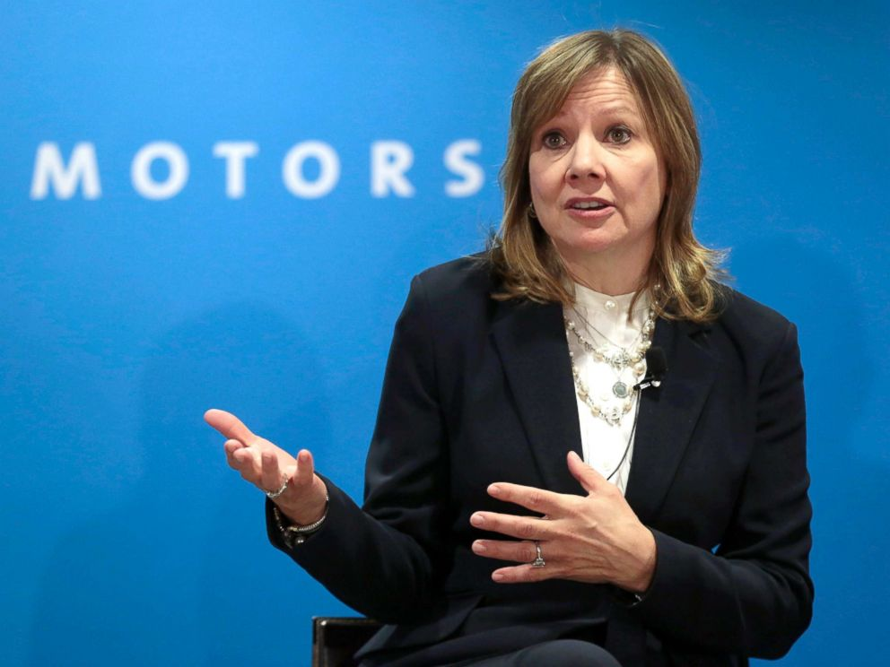 PHOTO: General Motors Chairman and CEO Mary Barra speaks at GMs press conference at the North American International Auto Show in Detroit, Jan. 16, 2018.