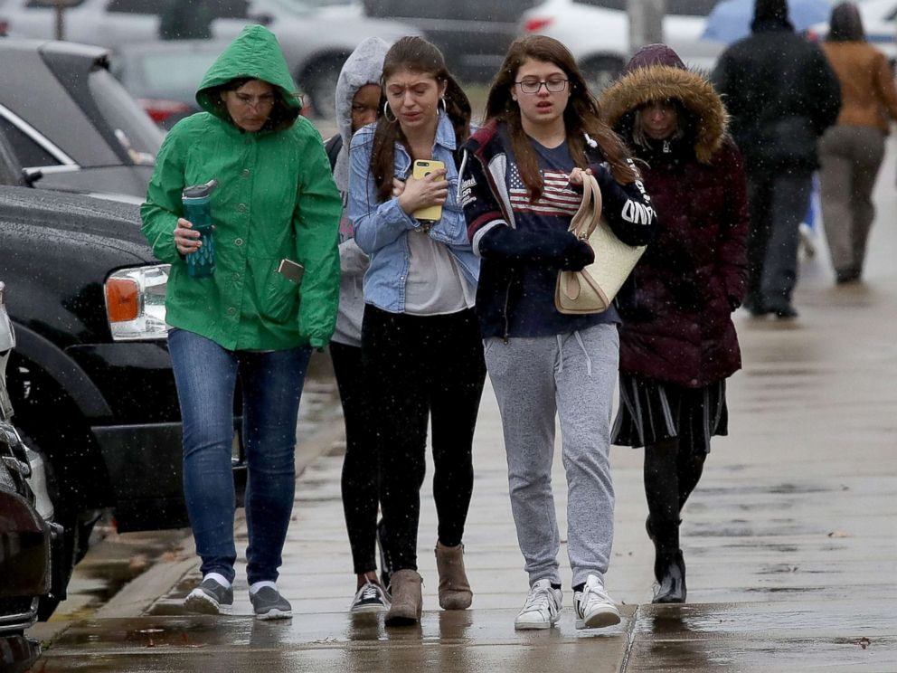 PHOTO: Students from Great Mills High School walk to meet their parents at Leonardtown High School following a school shooting, March 20, 2018 in Leonardtown, Md.