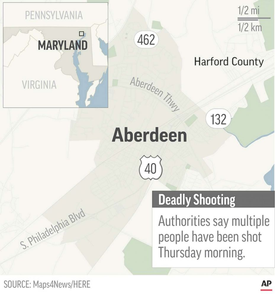 PHOTO: Map locates Aberdeen, Maryland, where a mass shooting has been reported.