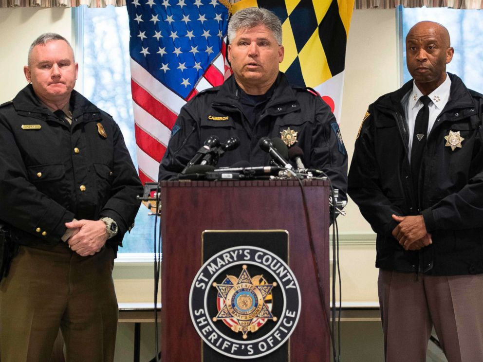 PHOTO: St. Marys County Sheriff Tim Cameron speaks during a press conference in Great Mills, Maryland on March 20, 2018.