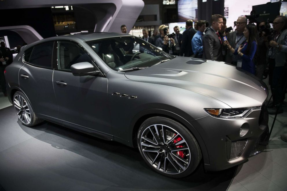 The Maserati Levante Trofeo vehicle is displayed during the 2018 New York International Auto Show (NYIAS) in New York, March 28, 2018.