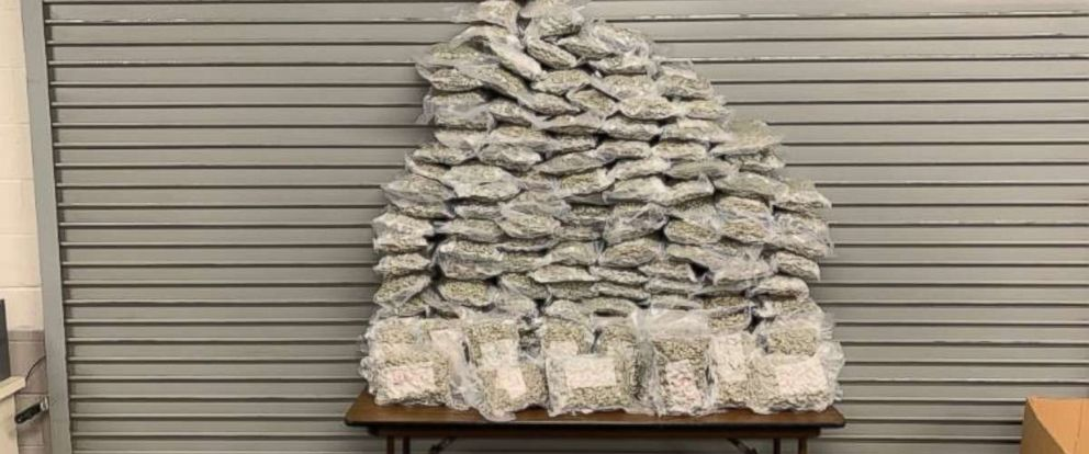 PHOTO: Metro Nashville Police found 159 pounds of marijuana in four suitcases at Nashville International Airport on Tuesday, Jan. 15, 2019. Two men were arrested on felony charges.