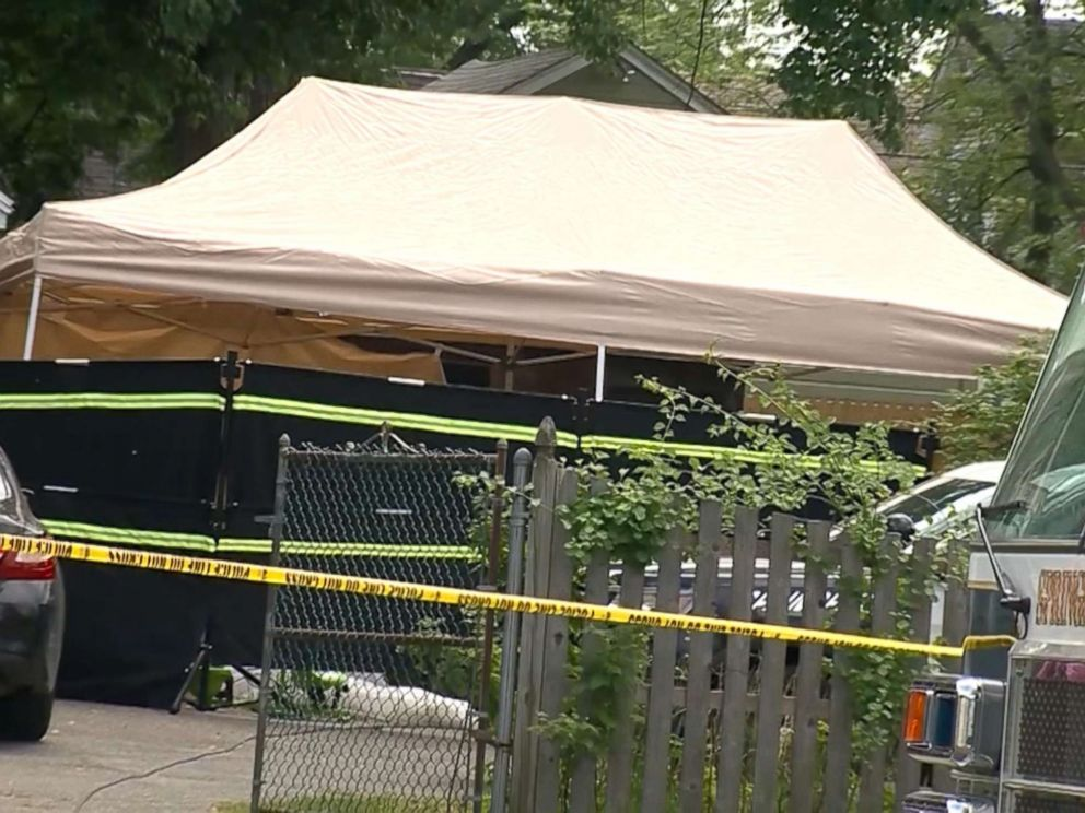 PHOTO: Authorities have erected a tent where three dead bodies have been discovered at a Massachusetts home associated with a kidnapping suspect.