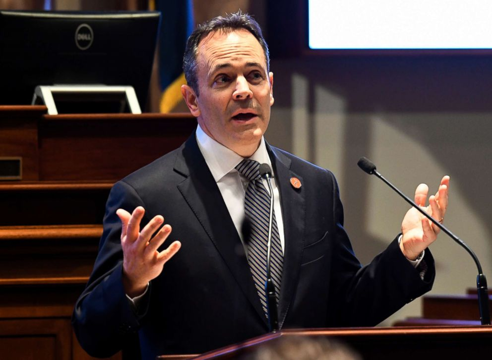 PHOTO: Kentucky Gov. Matt Bevin speaks to a joint session of the General Assembly at the Capitol, in Frankfort, Ky., Jan. 16, 2018.