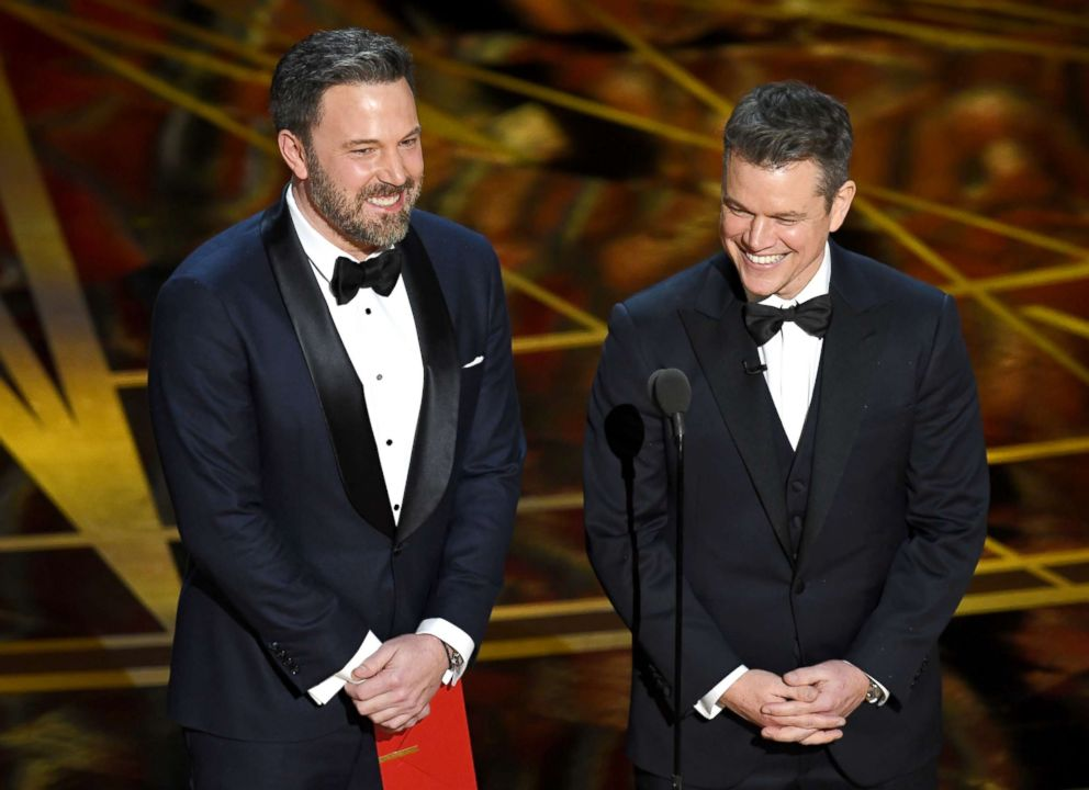 PHOTO: Ben Affleck and Matt Damon speak onstage during the 89th Annual Academy Awards at Hollywood & Highland Center on Feb. 26, 2017 in Hollywood, Calif.