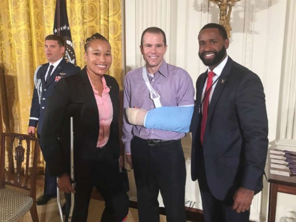 PHOTO: Pictured (L-R) are Capitol Hill police officer Crystal Griner, Matt Mika and Capitol Hill police officer David Bailey.