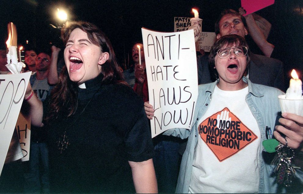 PHOTO: Two gay activists demonstrate in the streets of North Hollywood to protest against the death of Wyoming University student Mathew Shepard, Oct. 13, 1998.