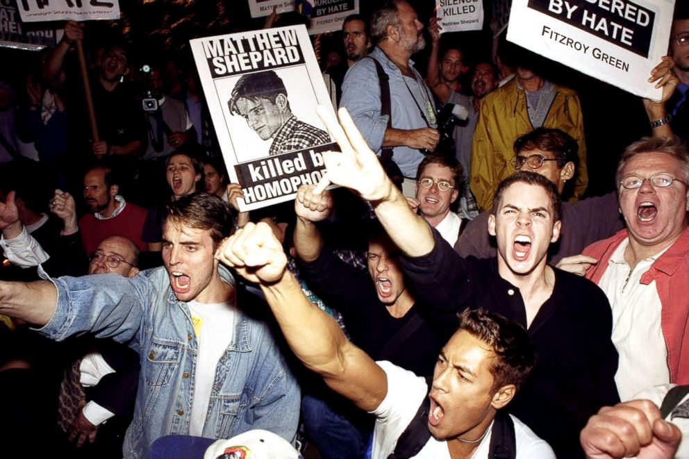 PHOTO: Demonstrators protest the hate killing of gay student Matthew Shepard, Oct. 19, 1998.
