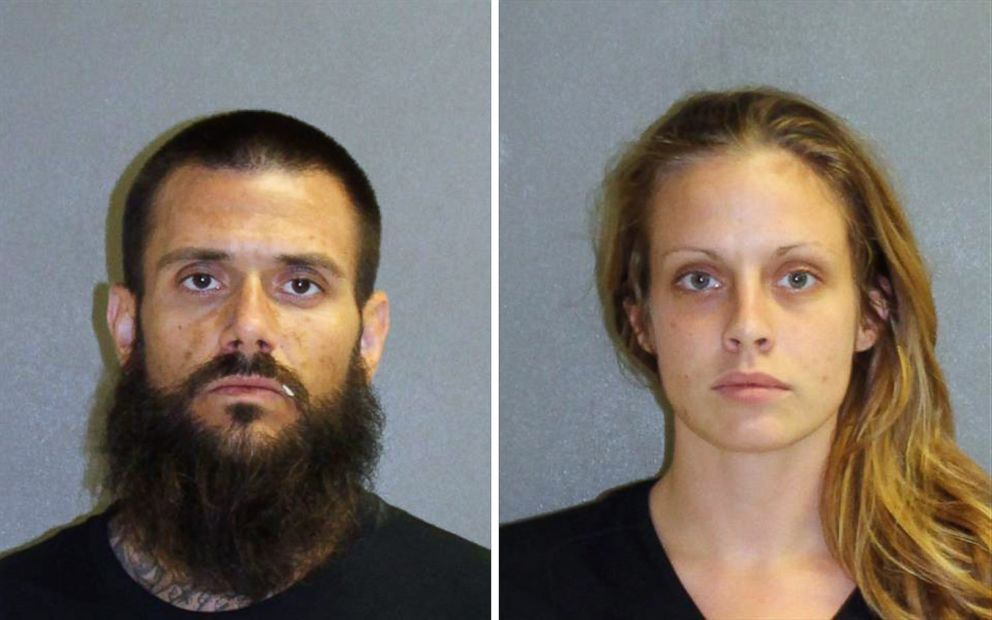 PHOTO: Matthew White, 32, and Amber Taynor, 24 are pictured in booking photos following their arrest on July 12, 2018 in Volusia County, Fla.