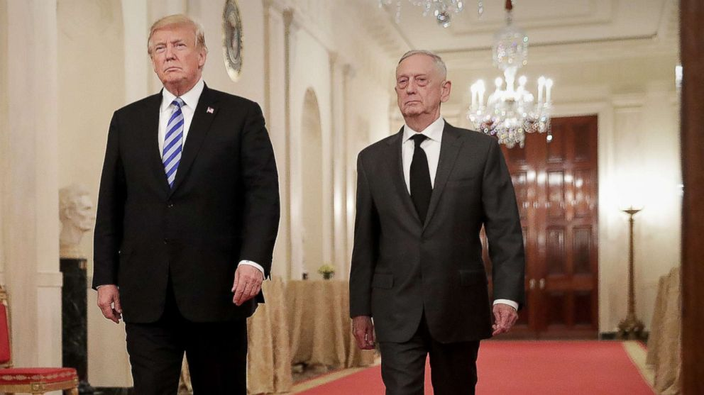 President Donald Trump and Defense Secretary James Mattis arrive for an event in the East Room of the White House, Oct. 25, 2018.