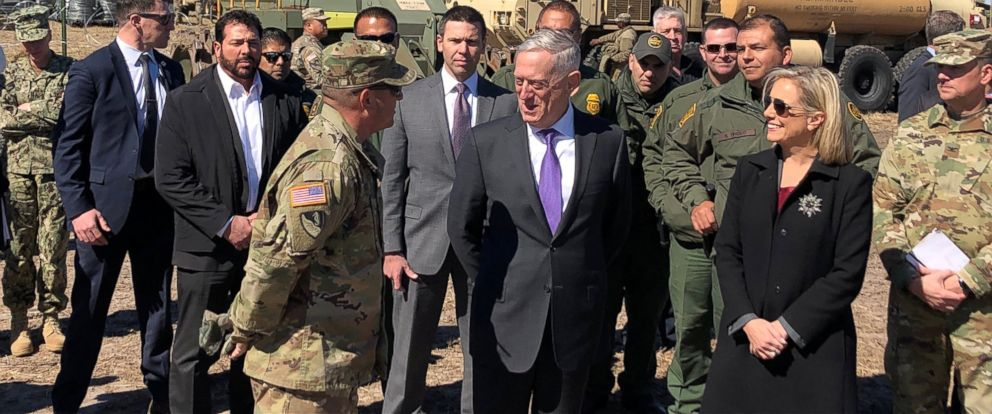 PHOTO: Defense Secretary Jim Mattis and Secretary of Homeland Security Kirstjen Nielsen tour Base Camp Donna in Donna, Texas, Nov. 14, 2018.