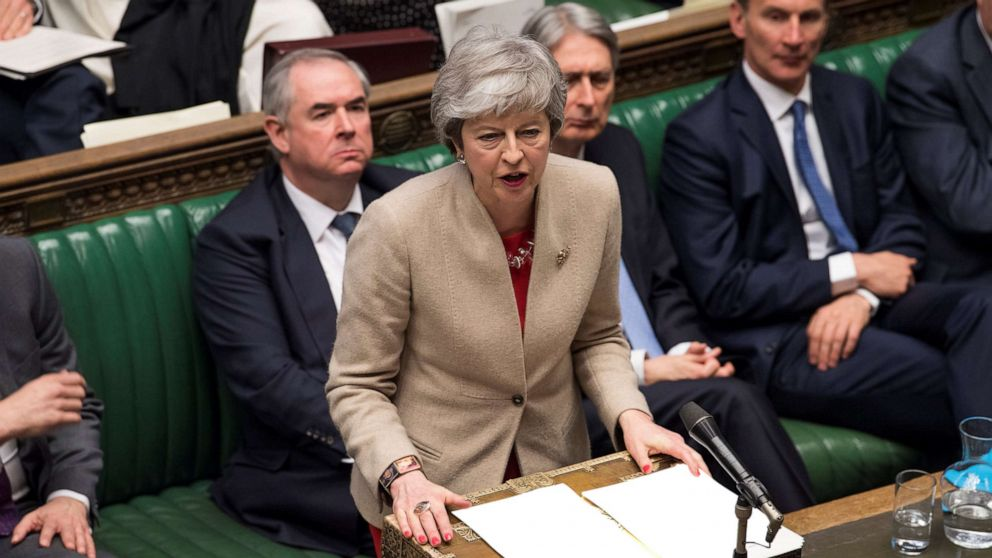 British Prime Minister Theresa May speaks at the House of Commons in London,  March 29, 2019.
