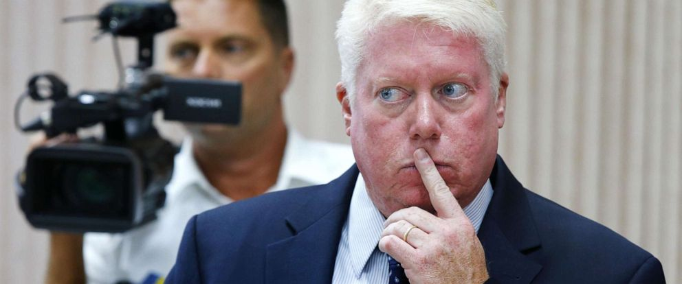 PHOTO: Brick Township Mayor John G. Ducey listens during a meeting with a Greenbriar resident in Brick Township, N.J., Aug. 14, 2018.