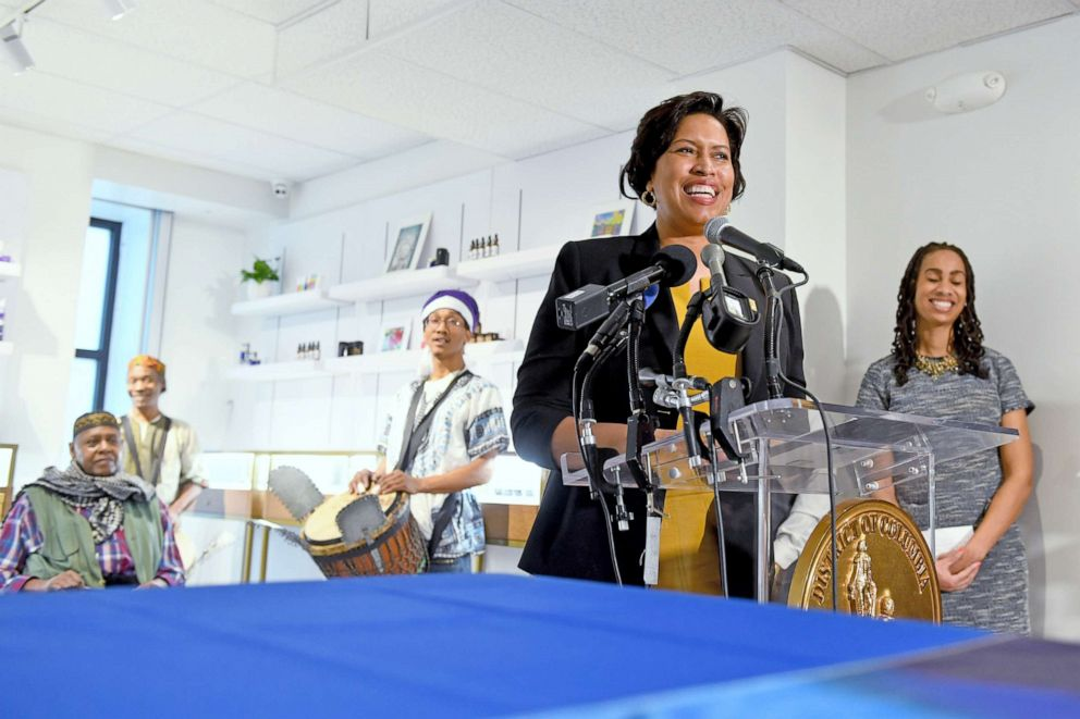 PHOTO: Mayor Muriel E. Bowser makes remarks at the ribbon cutting ceremony of Anacostia Organics, the first medical marijuana dispensary east of the Anacostia River, on Jan. 24, 2019 in Washington, D.C.