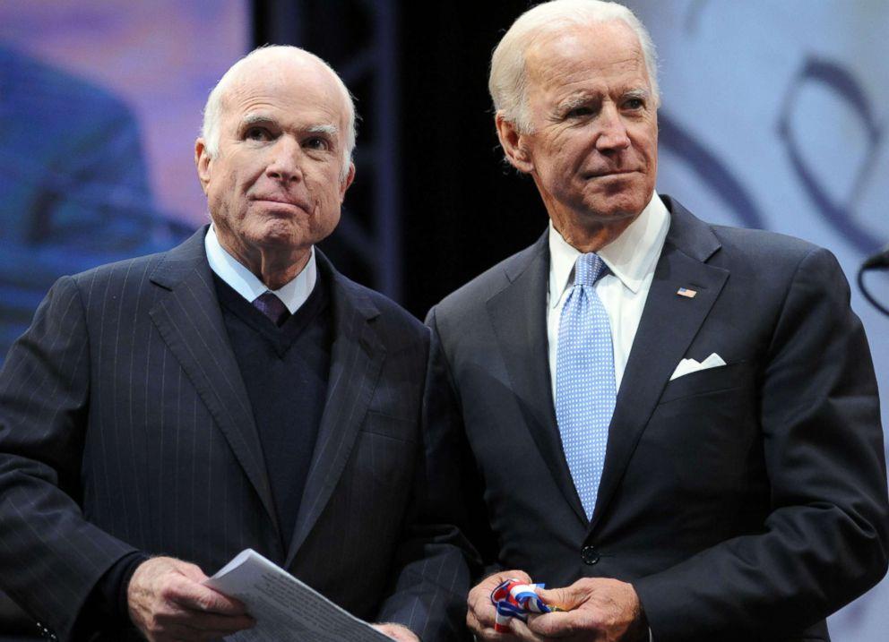 PHOTO: Sen. John McCain receives the 2017 Liberty Medal from former Vice President Joe Biden at the National Constitution Center, Oct. 16, 2017 in Philadelphia.