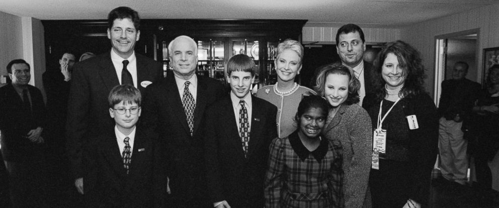 PHOTO: John McCain with his wife, Cindy, and children pose for a photo, Feb. 1, 2000 in New Hampshire. McCains children are from left, Andy, Jimmy, Jack, Bridget, Meghan, Doug, and Sidney.
