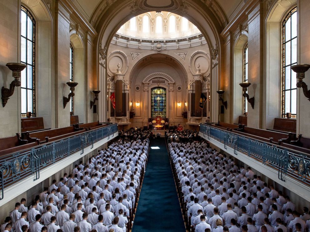 The funeral service for the late Sen. John McCain at the United States Naval Academy Chapel, Sept. 2, 2018. John Sidney McCain, III graduated from the United States Naval Academy in 1958.