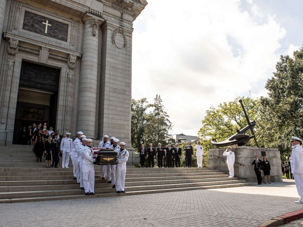 Navy Body Bearers move the casket of the late Senator John McCain to a horse-drawn caisson after his funeral service at the United States Naval Academy Chapel, Sept. 2, 2018. John Sidney McCain, III graduated from the United States Naval Academy in 1958.