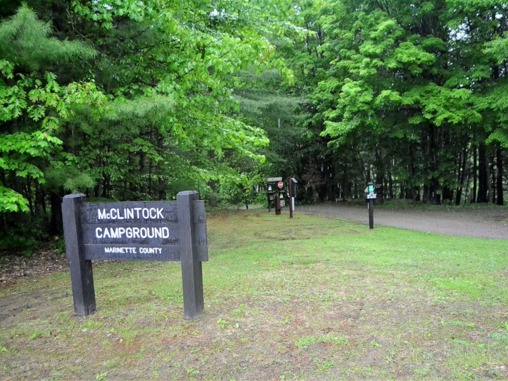 PHOTO: The entrance to the campground in McClintock Park in the Marinette County town of Silver Cliff, where David Schuldes and Ellen Matheys were shot to death on July 9, 1976.