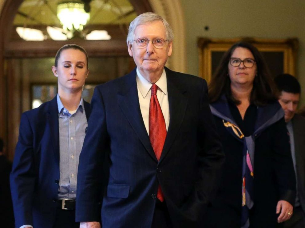PHOTO: Senate Majority Leader Mitch McConnell (R-KY) leaves the Senate floor after the failure of both competing Republican and Democratic proposals to end the partial government shutdown in back to back votes on Capitol Hill, Jan. 24, 2019.