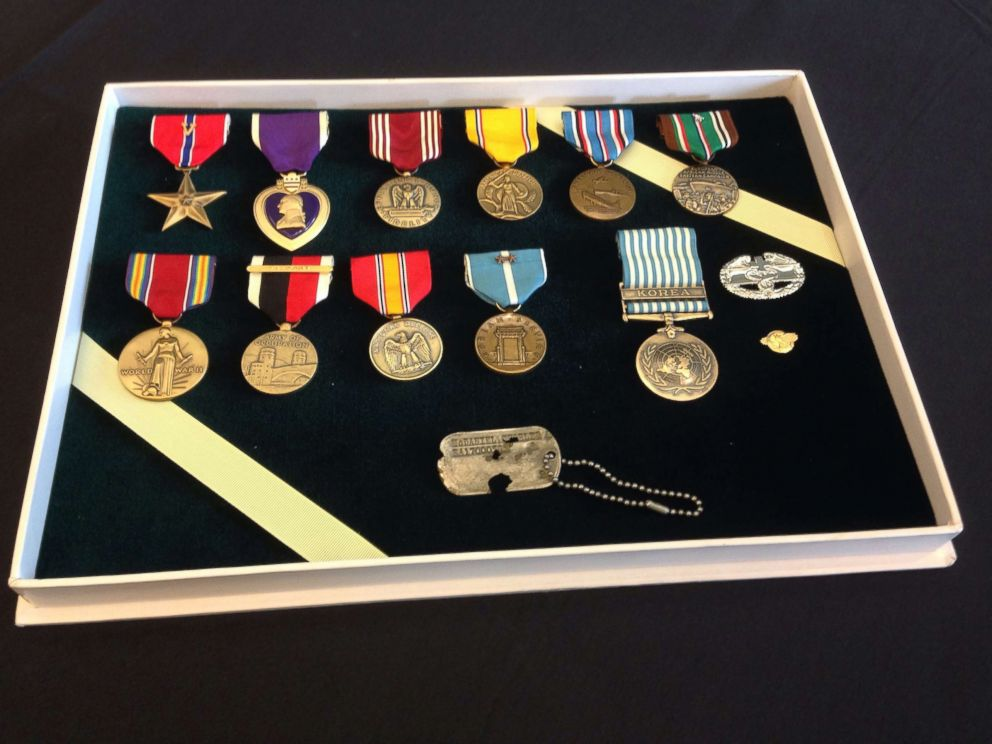 PHOTO: The dog tag were presented in a box that contained all of the ribbons and medals that their father, Master Sergeant Charles H. McDaniel, had earned during his Army career that included major combat in Europe during World War II.