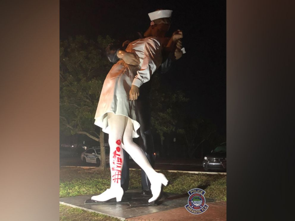 PHOTO: The Unconditional Surrender statue in Sarasota, Fla., was found vandalized on Feb. 19, 2019.