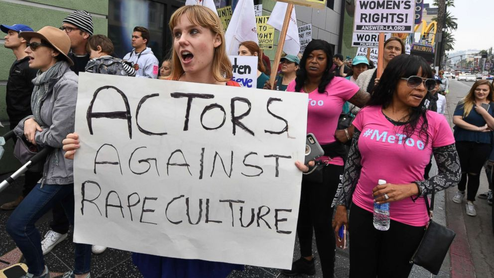 Victims of sexual harassment, sexual assault, sexual abuse and their supporters protest during a Me Too march in Hollywood, Calif. on Nov. 12, 2017.