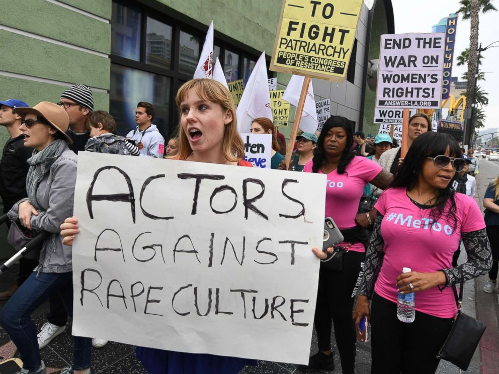 PHOTO: Victims of sexual harassment, sexual assault, sexual abuse and their supporters protest during a Me Too march in Hollywood, Calif. on Nov. 12, 2017.