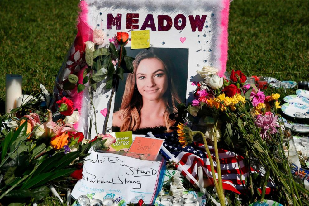 PHOTO: A memorial for Meadow Pollack, one of the victims of the Marjory Stoneman Douglas High School shooting, sits in a park in Parkland, Fla., Feb. 16, 2018.