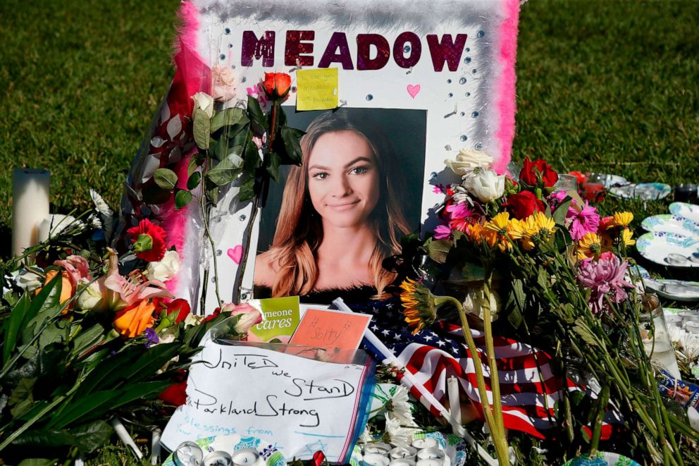 PHOTO: A memorial for Meadow Pollack, one of the victims of the Marjory Stoneman Douglas High School shooting, sits in a park in Parkland, Fla., Feb. 16, 2018, two days after the massacre.