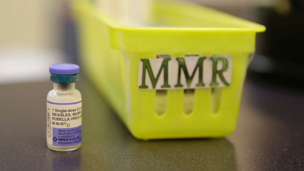 A measles, mumps and rubella vaccine sits on a counter at a pediatrics clinic in Greenbrae, Calif., Feb. 6, 2015.