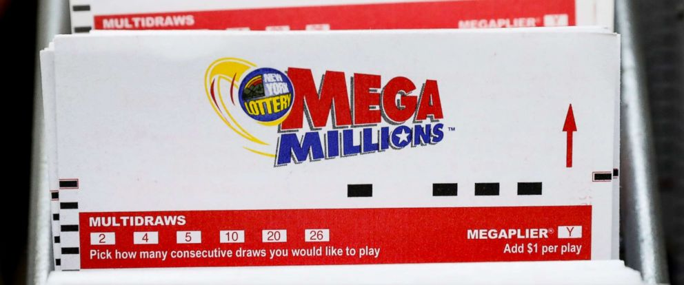 PHOTO: Mega Millions Lottery ticket are displayed in a store in New York, July 23, 2018.