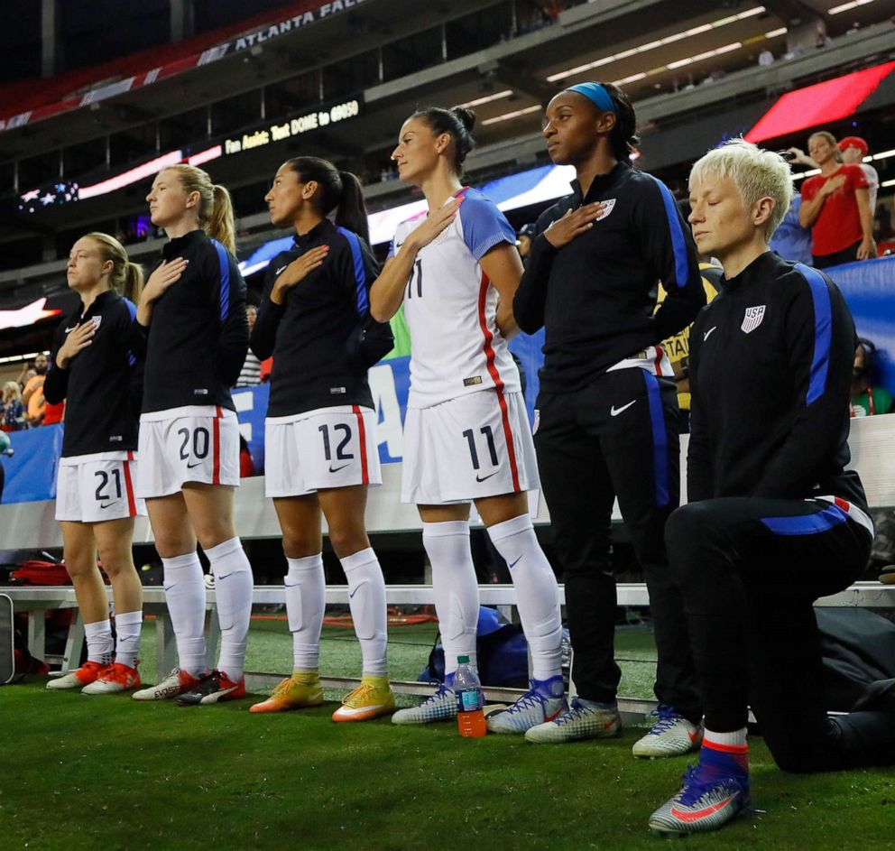 PHOTO:Megan Rapinoe #15 kneels during the National Anthem prior to the match between the United States and the Netherlands at Georgia Dome, Sept. 18, 2016, in Atlanta.