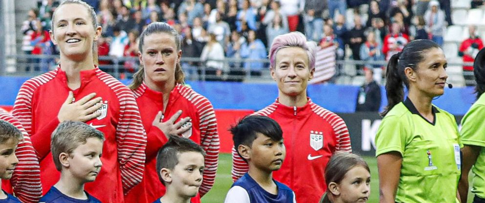 PHOTO: Megan Rapinoe stands during the national anthem during the FIFA Women soccer World Cup 2019 Group F match, USA vs Thailand in Reims stadium, Reims, France, June 11th, 2019.