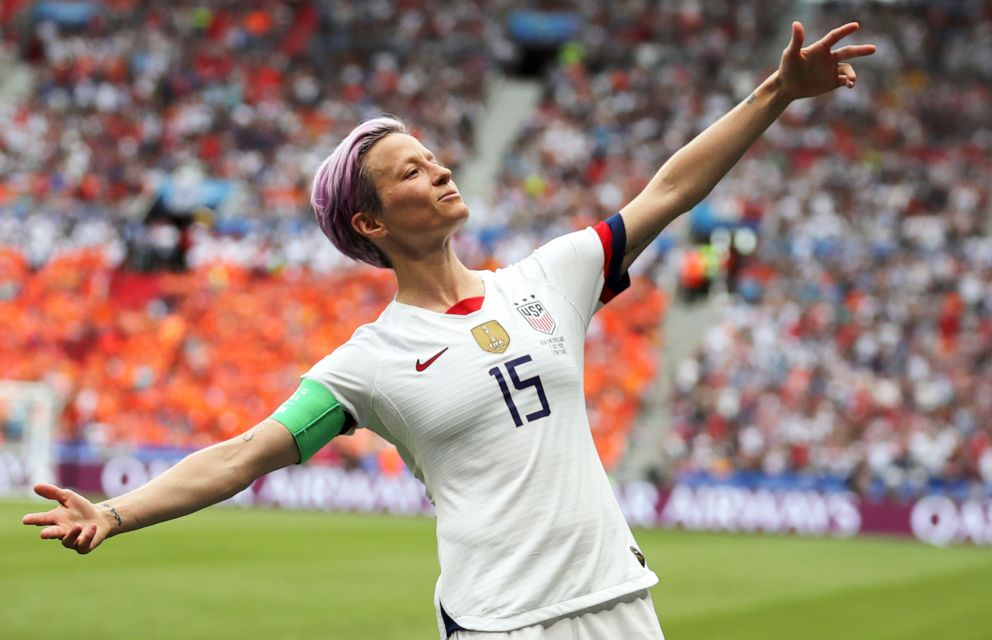 PHOTO: United States Megan Rapinoe celebrates after scoring the opening goal from the penalty spot during the Womens World Cup final soccer match between U.S. and The Netherlands in Decines, outside Lyon, France, July 7, 2019.