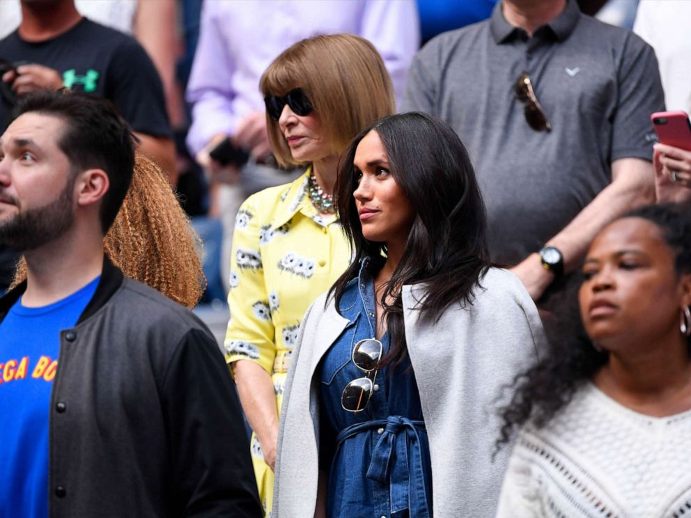 PHOTO: Meghan Markle arrives to watch the womens singles final match between Serena Williams of the United States and Bianca Andreescu of Canada on day thirteen of the 2019 U.S. Open tennis tournament at USTA Billie Jean King National Tennis Center.