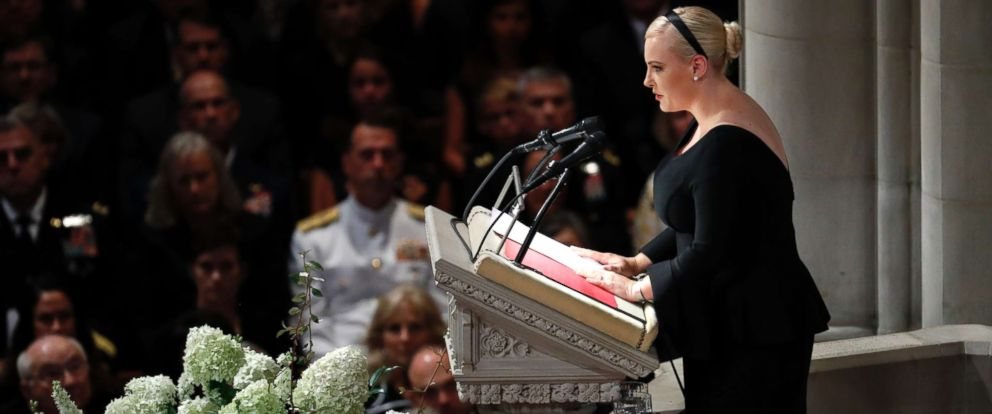 PHOTO: Meghan McCain speaks at a memorial services for her father Sen. John McCain at Washington National Cathedral in Washington, Sept. 1, 2018.