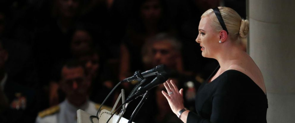 PHOTO: Meghan McCain speaks at a memorial services for her father, Sen. John McCain, R-Ariz., at Washington Nationals Cathedral in Washington, Sept. 1, 2018.