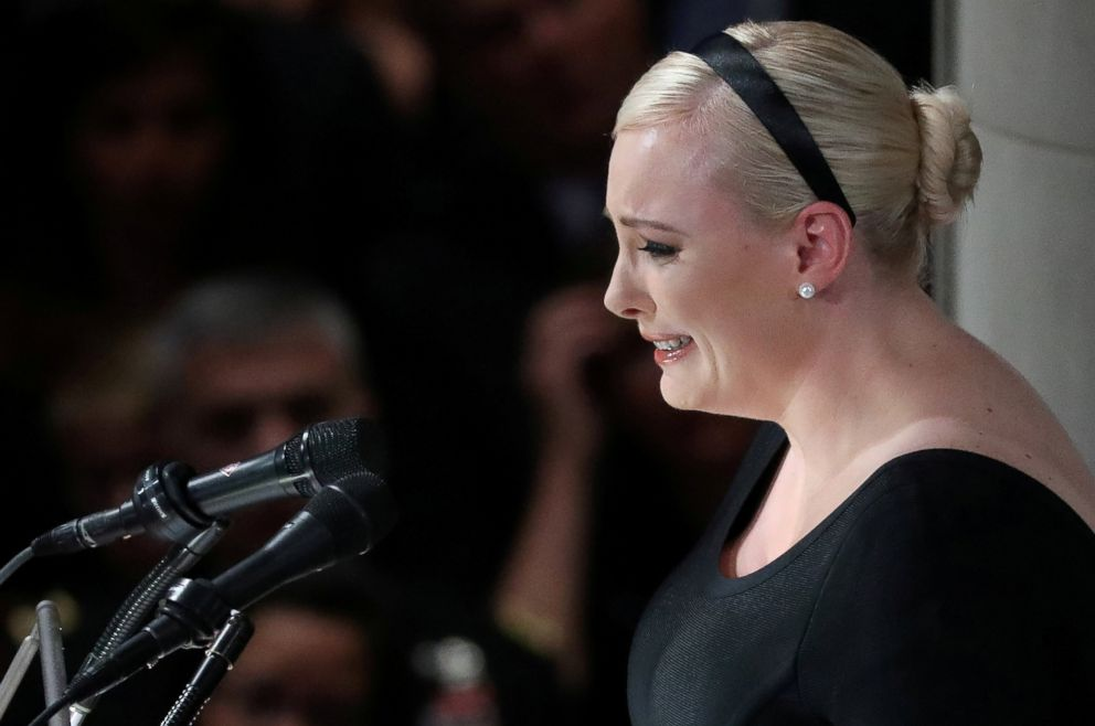 PHOTO: Meghan McCain speaks at a memorial service for her father, Sen. John McCain, at Washington Nationals Cathedral in Washington, Sept. 1, 2018.