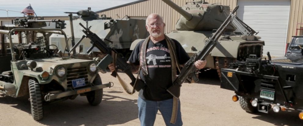 "PHOTO: Mel Bernstein, known as the ""Most Armed Man in the World,"" claims to have over 4,000 weapons including military vehicles, bazookas, and machine guns."