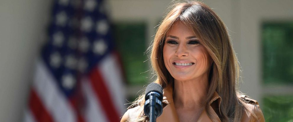 PHOTO: First lady Melania Trump speaks on her initiatives during an event in the Rose Garden of the White House, May 7, 2018.
