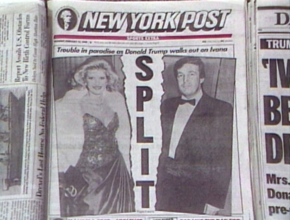 PHOTO: The cover of the New York Post newspaper reports the news of Ivana and Donald Trumps split.