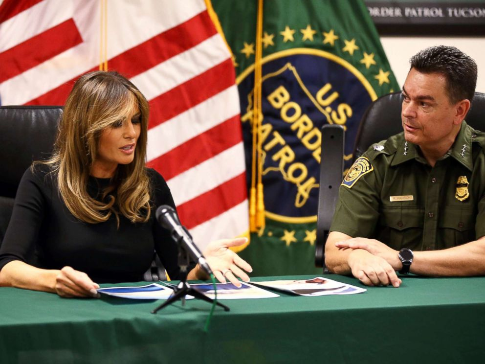 PHOTO: First lady Melania Trump looks at photos of an abandoned 6-year-old Costa Rican boy found in the desert recently during visit to the Tucson Sectoroffice of the U.S. Customs andBorderProtection.