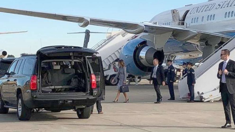 """First lady Melania Trump's plane on Wednesday was forced to turn around shortly after takeoff because of a """"minor technical issue."""""""