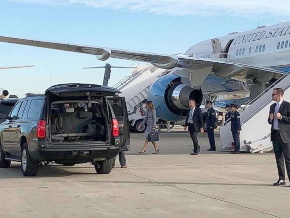 PHOTO: First lady Melania Trumps plane on Wednesday was forced to turn around shortly after takeoff because of a minor technical issue.