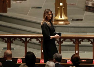 PHOTO: First Lady Melania Trump arrives at St. Martins Episcopal Church for a funeral service for former first lady Barbara Bush, April 21, 2018, in Houston.