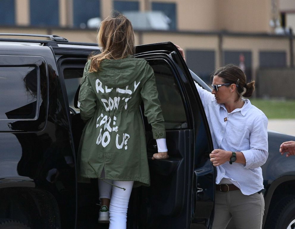 PHOTO: First Lady Melania Trump departs Andrews Air Force Base in Maryland, June 21, 2018, wearing a jacket emblazoned with the words I really dont care, do u?