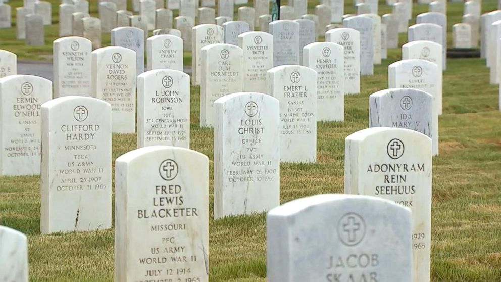 PHOTO: Jordan Houghton, also a veteran, said that while he and his group had cleaned about a couple thousand headstones, a few thousand still remained.