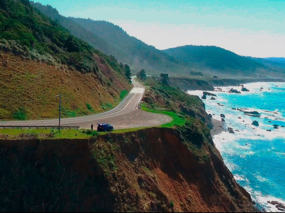 In this Wednesday, March 28, 2018 aerial image from Alameda County Sheriffs Office drone video courtesy of Mendocino County shows the pullout where the SUV of Jennifer and Sarah Hart was recovered off the Pacific Coast Highway 1, near Westport, Calif.